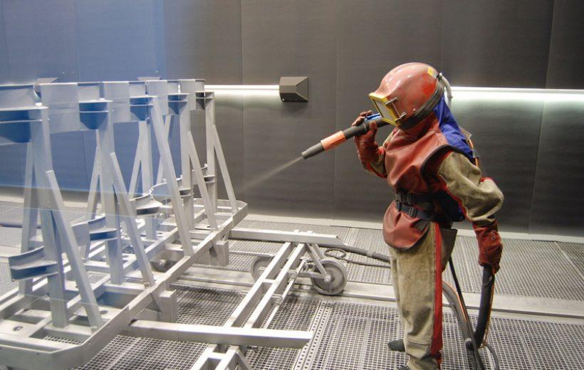 Фото дробеструйной обработки металла