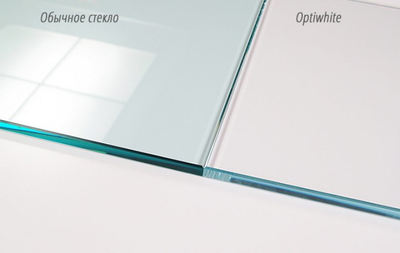 Фото сравнения Оптивайта и обыкновенного стекла