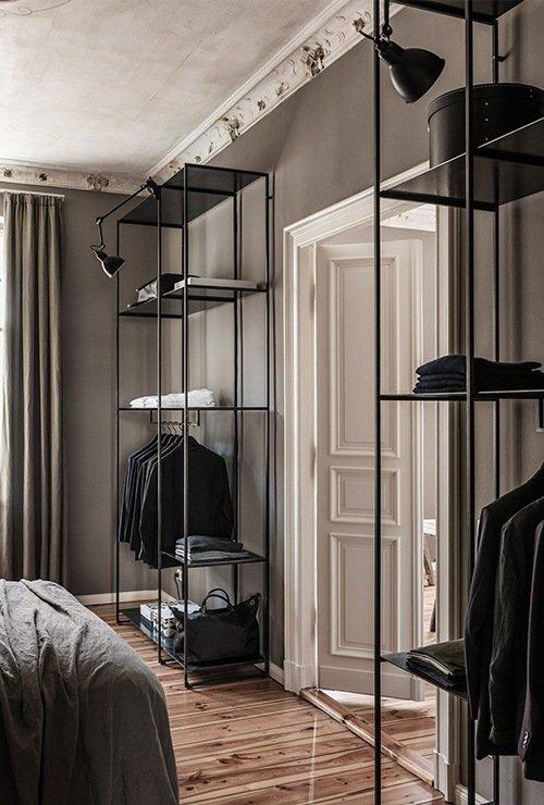 Открытые стеллажи для одежды