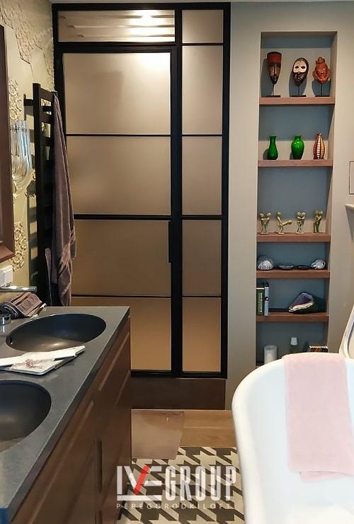 Дверь в душ с фрамугой боковой и верхней