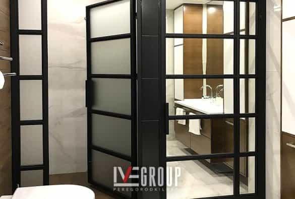 Перегородка в душ с матовым стеклом фото