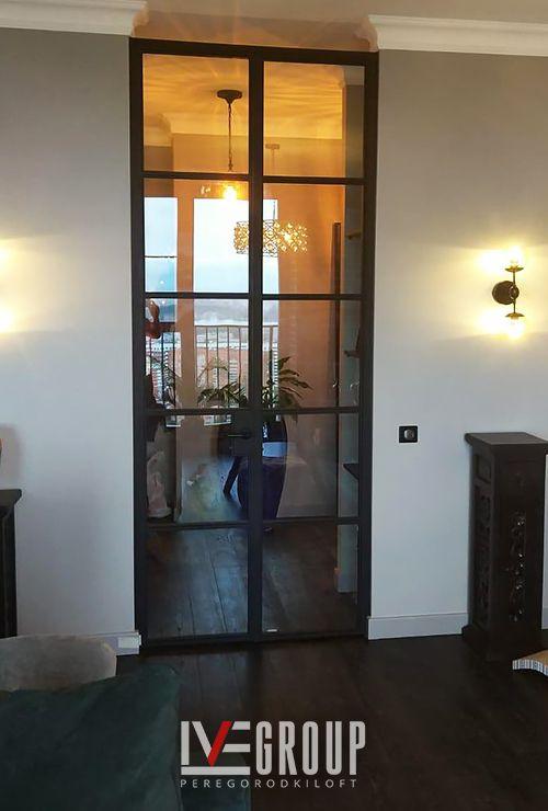 Межкомнатная стеклянная дверь лофт фото 27
