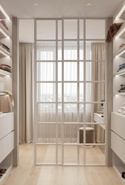 Белые перегородки лофт в гардеробную