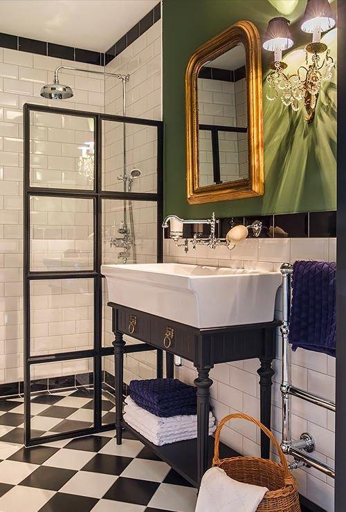 Перегородка лофт в душ из стекла фото - 8