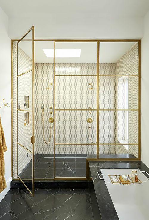 Перегородка в душ золотая фото 4