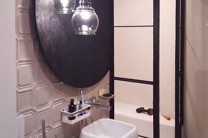 Душевая кабина лофт и зеркало монтаж