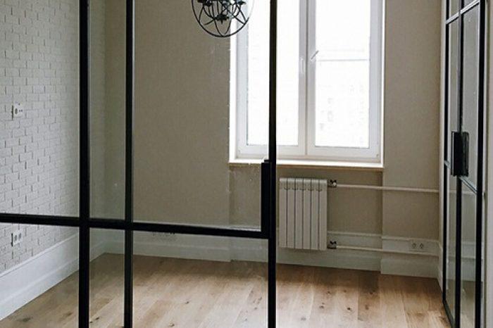 Перегородка с раздвижными дверями фото