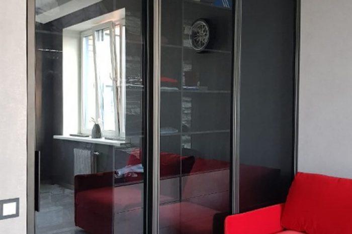 Перегородка в гардероб с тонированным стеклом